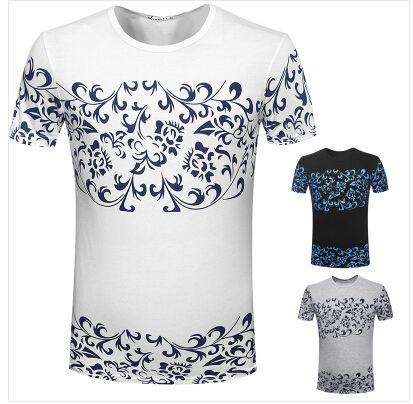 Crime a nova moda de verão T-shirt de manga curta homem camisetas apertadas homens 2015 homens de porcelana azul e branca Sports T-shirt