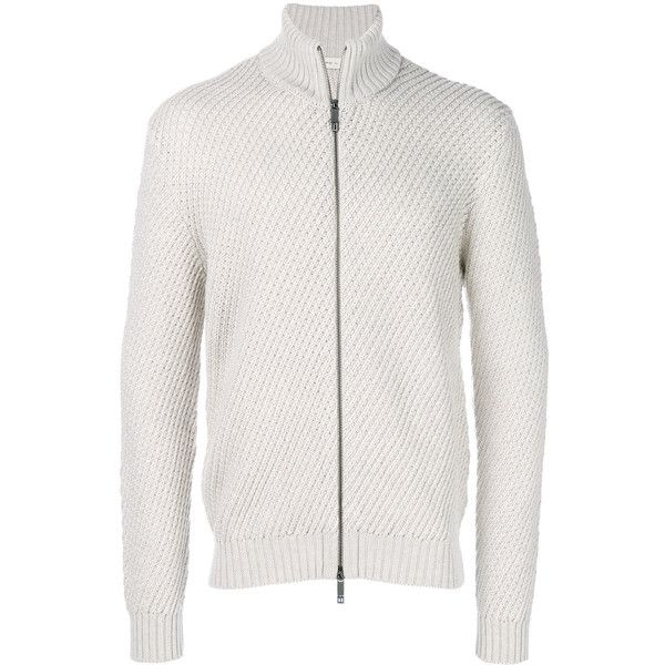 Etro textured zip cardigan ($800) ❤ liked on Polyvore featuring men's fashion, men's clothing, men's sweaters, white, mens zip cardigan sweater, mens zip sweater, mens ribbed sweater, mens white cardigan sweater and mens woolen sweaters