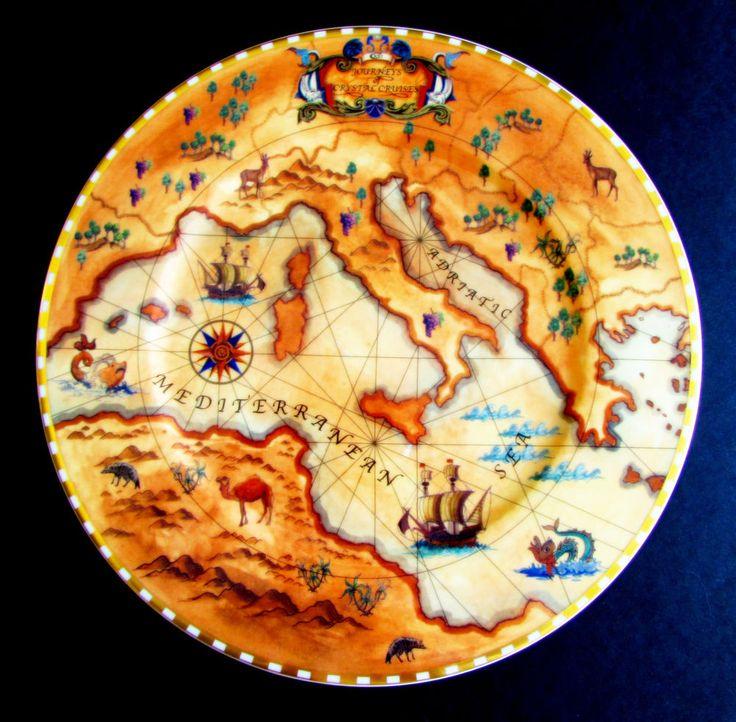 "Villeroy & Boch Journeys of Crystal Cruises Mediterranean Sea Charger Plate 12"" #TTB"