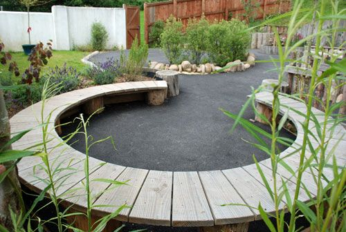 for fire pit area - make in pieces that are moveable - set together or use separately. Social/teaching space
