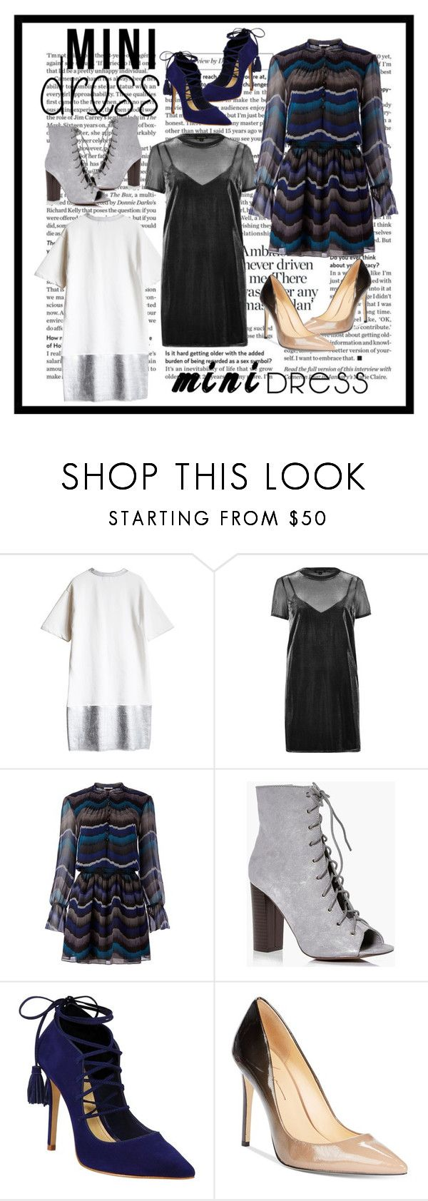 """""""Mini Dresses w/matching shoes Contest Entry"""" by sun-loves-the-moon ❤ liked on Polyvore featuring River Island, Diane Von Furstenberg, Boohoo, Schutz and Daya"""