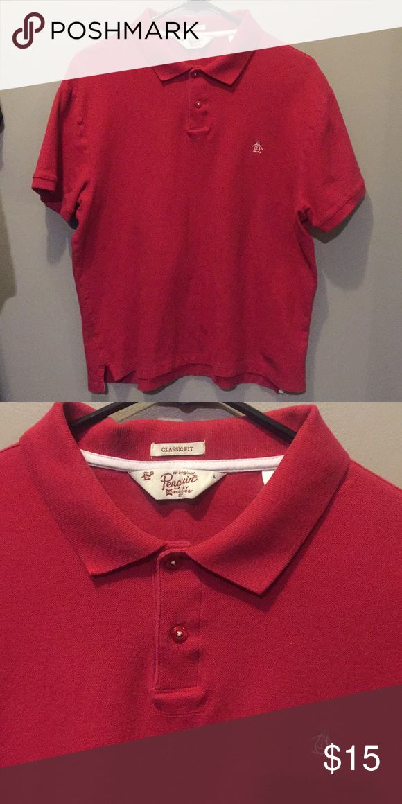 Men's red penguin brand polo Men's red polo penguin short sleeve. Fits like a medium. Worn, but in good condition and still bright color. Original Penguin Shirts Polos