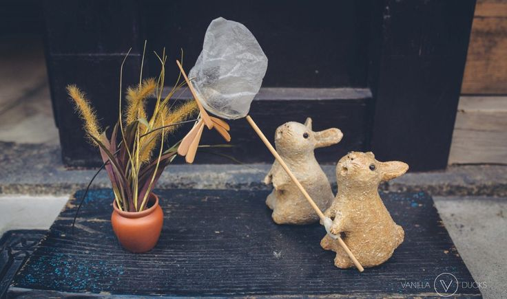 Cute rabbit statues in front of a japanese restaurant in kyoto, japan