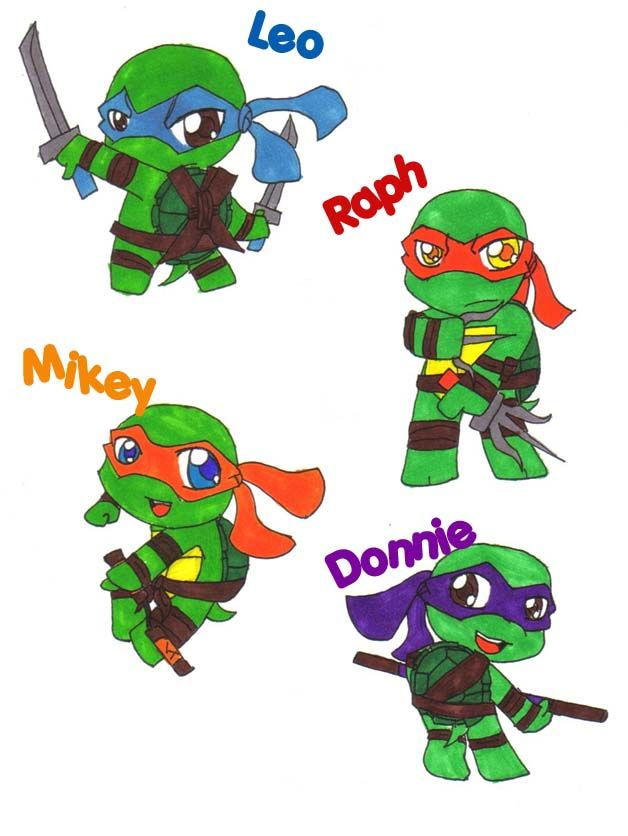 Mikey, that's not a Nunchuck by blueshadow.deviantart.com ...   Baby Ninja Turtles Drawings