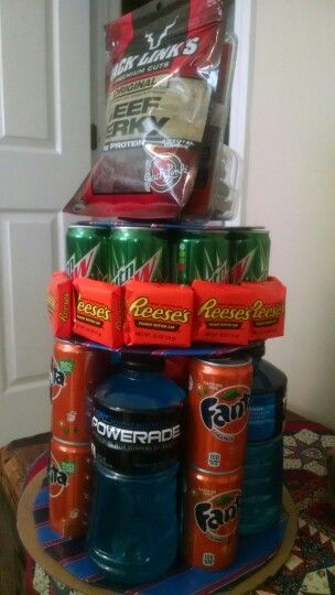 Personalized Tower of Treats for 18-year-old boy/man birthday.