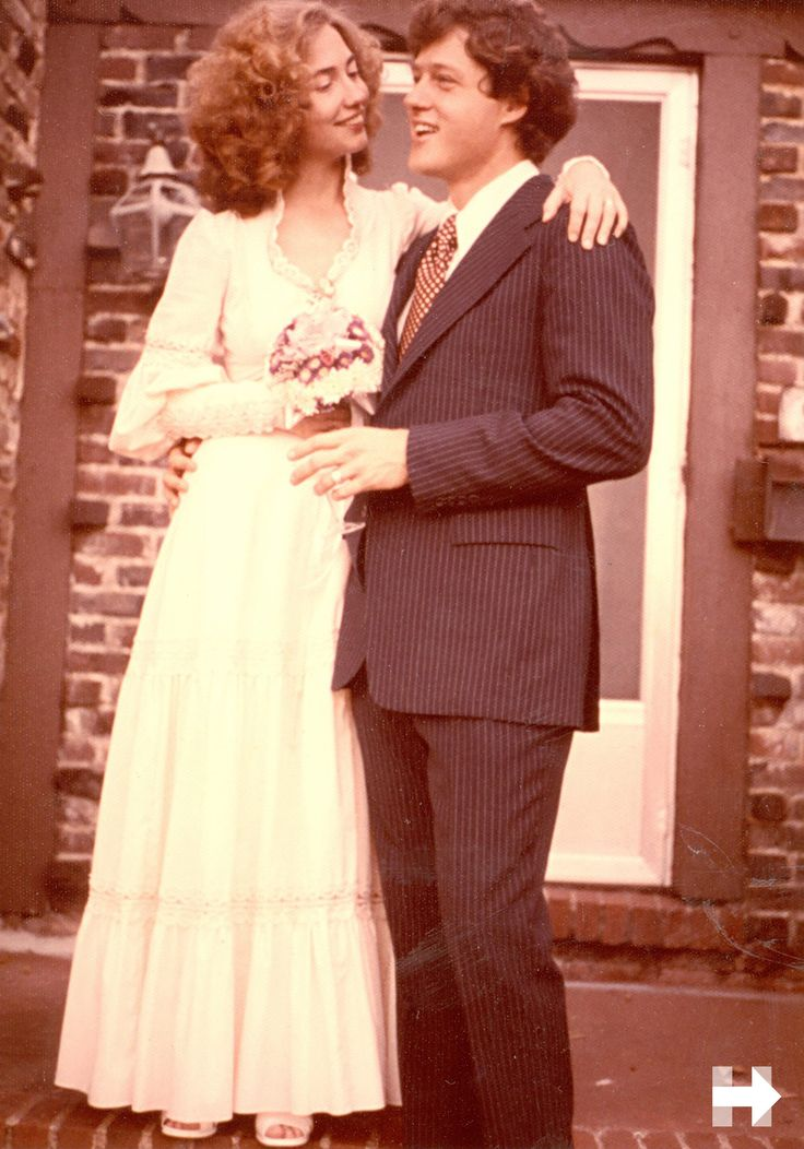 """When Bill and I got married in 1975, the ceremony took place in front of a few friends and family in the living room of our little house in Fayetteville, Arkansas. I wore a lace-and-muslin Victorian dress I had found shopping with my mother the night before."" - Hillary in Hard Choices."