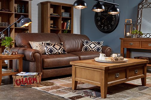 Edward 4 seater sofa in vintage brown