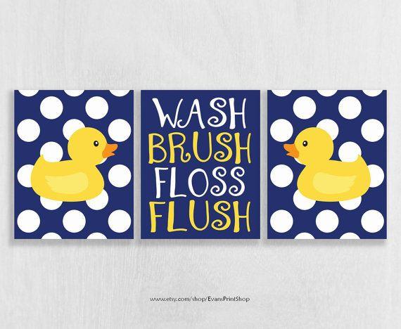 Rubber Ducky Bathroom Art Prints Set of 3 - Rubber Duck Bathroom Decor - Kids…