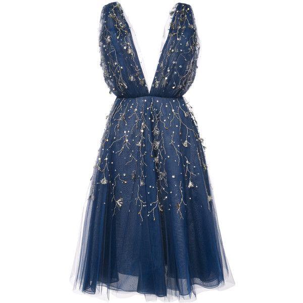 Oscar de la Renta embroidered flared midi dress ($6,990) ❤ liked on Polyvore featuring dresses, short dresses, vestido, blue, blue fit-and-flare dresses, calf length dresses, oscar de la renta, midi dress and blue color dress