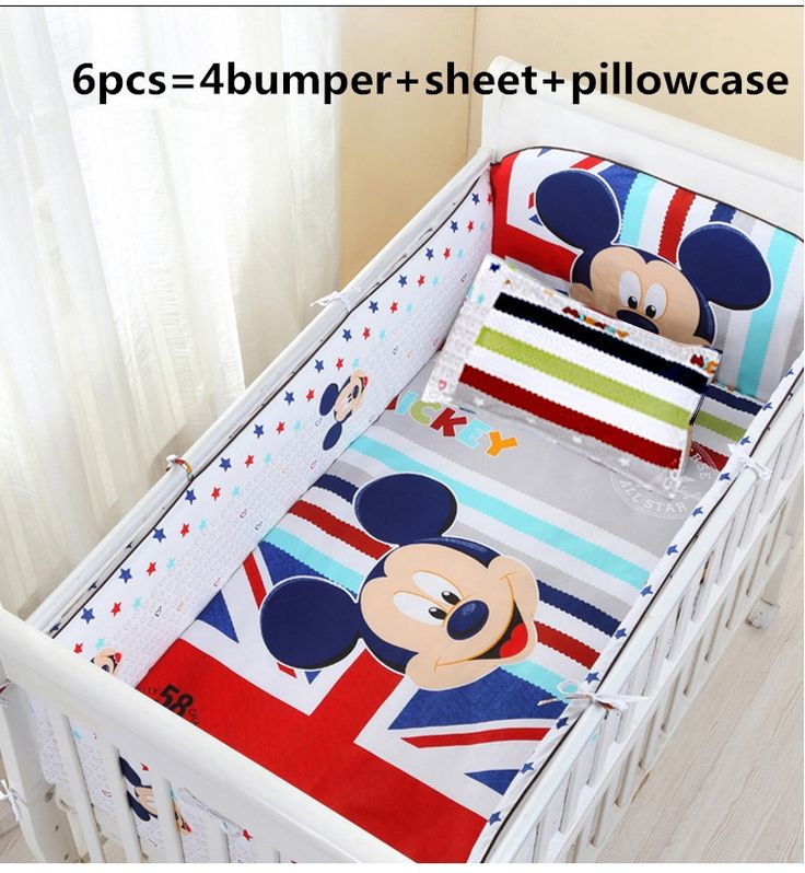 44.80$  Know more  - Promotion! 6PCS Mickey Mouse baby bedding set curtain crib bumper baby cot sets baby bed bumper(bumper+sheet+pillow cover)