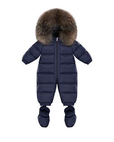 9d7c761f3 Moncler Cayalar Quilted Fur-Trim Bunting w/ Detachable Booties, Size 6-24  Months