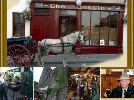 The Castle Inn Fethard, Tipperary: The horse and trap belongs to the fellow in the bottom right picture, it was tied to the bottom of his table while he enjoyed a lovely Guinness.