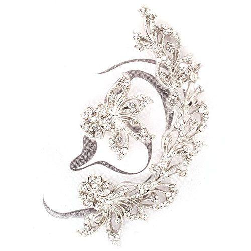 Jewelled Flower Crystal Ear Cuff in Silver