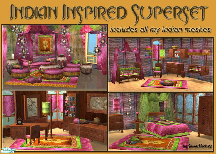 Icludes All Of My Indian Inspired Meshes. Living Room, Dining Room, Bedroom,