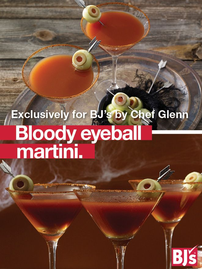 Easy Halloween Cocktails: Brew up an easy Halloween party drink recipe garnished with creepy olive eyeballs. http://stocked.bjs.com/food/bloody-eyeball-martini
