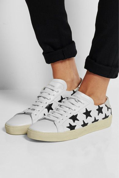 Saint Laurent | Court Classic star-appliquéd leather sneakers | NET-A-PORTER.COM