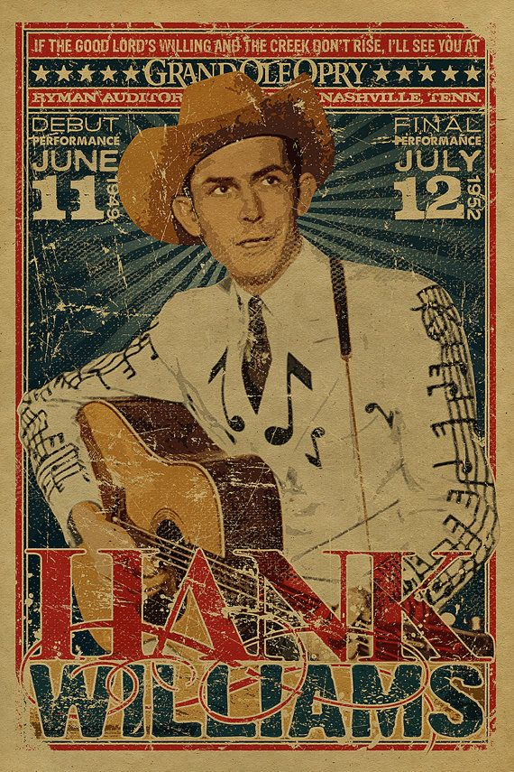 Hank Williams Sr poster. Grand Ole Opry. Ryman Auditorium. 12x18. Country Music. Kraft paper. Nashville. Art. Knoxville. TN. Tennessee