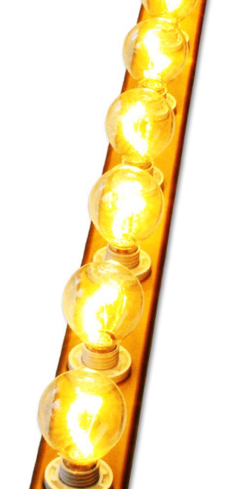 Lichtlijst met E-14 LED Kogellampen 230V - Glazen Kogel - Helder - Nostalgie -
