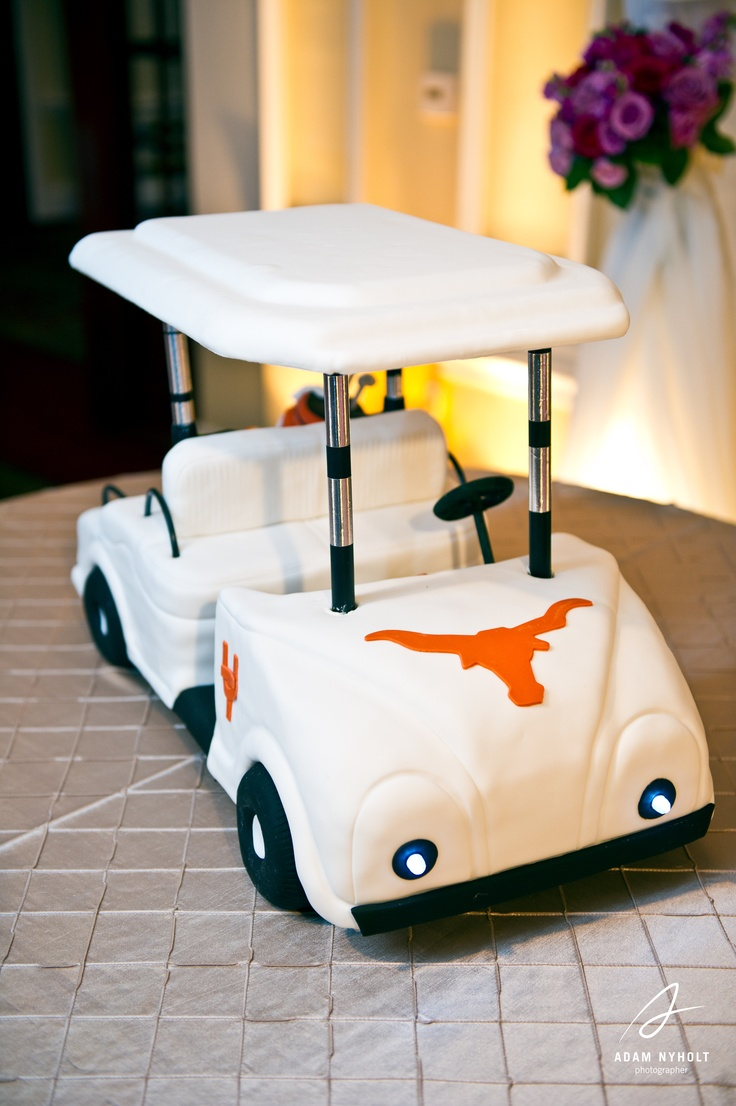 A fun groom's cake! A UT golf cart. Photography by Adam Nyholt, Photographer.