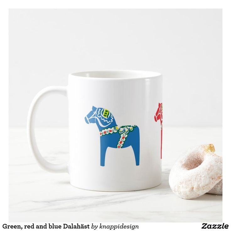 Green, red and blue Dalahäst Coffee Mug  #dalahäst #dalahorse #taalainmaanhevonen #horse #dalahästmugg #dalahorsemug #sverige #sweden #svenska #tricolor #fika #knappidesign