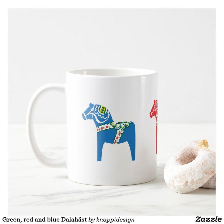 Green, red and blue Dalahäst Coffee Mug  #dalahäst #kaffemugg #tricolor #coffeemug #dalahorse #sverige #sweden #fikamugg #fika
