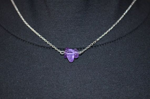 Amethyst Necklace Dainty Crystal Pendant Silver Chain Necklace Chakra Necklace…