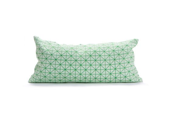 Green white pillow geometric cushion cover 30x60 cm by mikabarr, $54.00
