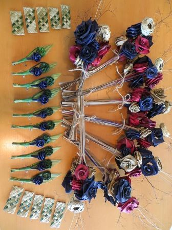 Flax Weaving - Wedding arrangement with buttonholes