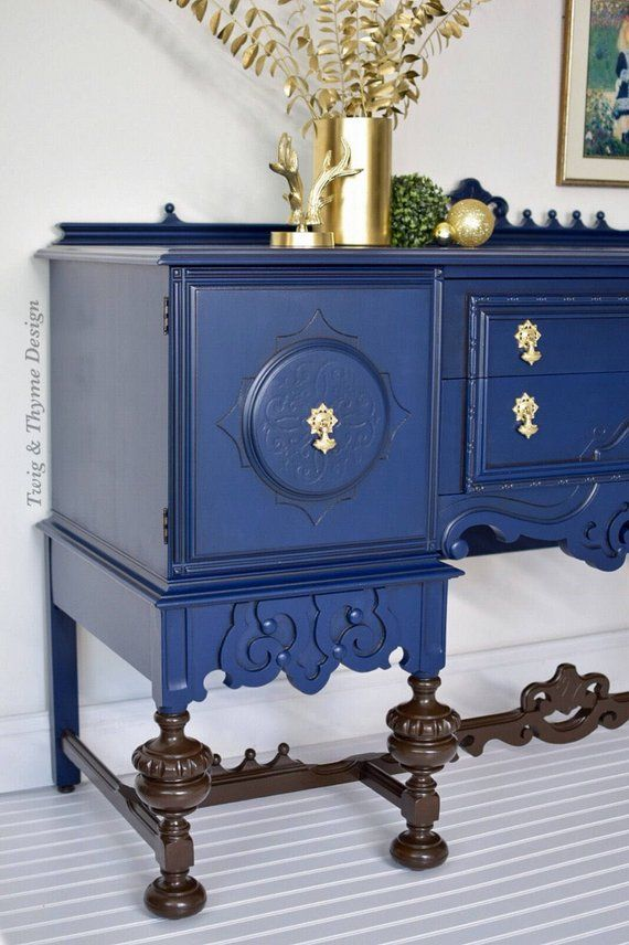 Sold Ornate Jacobean Sideboard Buffet Custom Painted Blue And Gold With Stained Legs