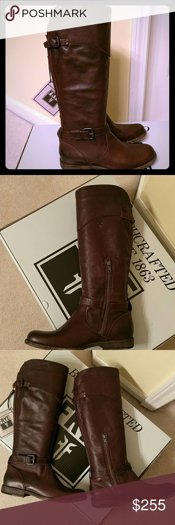 NEW Frye riding boots Chocolate brown leather boots. Excellent quality that only Frye can make. These are brand NEW. Side zipper for ease. Stunning! No trades please!!! Frye Shoes Heeled Boots