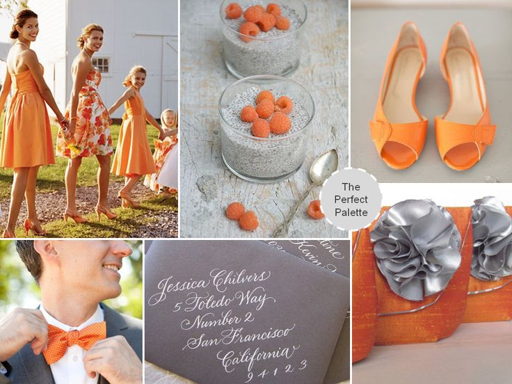 A Modern Fall Wedding | Orange   Gray