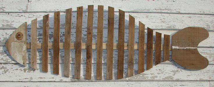 wood fish art   Large FISH SKELETON Reclaimed Wood Wall Art Free Shipping this Weekend ...
