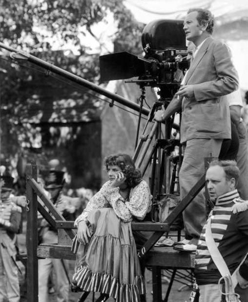 Katharine Hepburn on the set of The Little Minister ( 1934 ) with Richard Wallace directing.