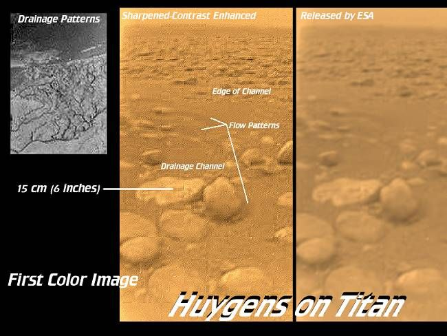"Titan. The first picture taken on the surface of Saturn's largest moon. This was the view of the ESA lander Huygens in 2005. The rocks are made of ice. ©Mona Evans, ""10 Amazing Facts about Saturn's Moons"" http://www.bellaonline.com/articles/art28136.asp"