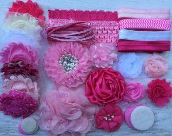 Bebé ducha Kit de diadema En rosa estación de por BowtiqueEmilee