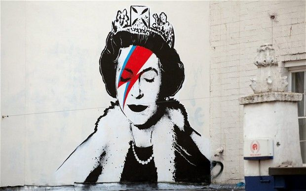 Banksy draws the Queen as Ziggy Stardust for the Diamond Jubilee