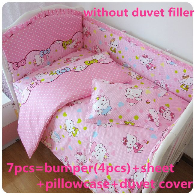 Promotion! 6PCS Hello Kitty baby bedding set 100% cotton curtain crib bumper ,include (bumpers+sheet+pillowcase) //Price: $US $42.80 & Up to 18% Cashback on Orders. //     #jewelry