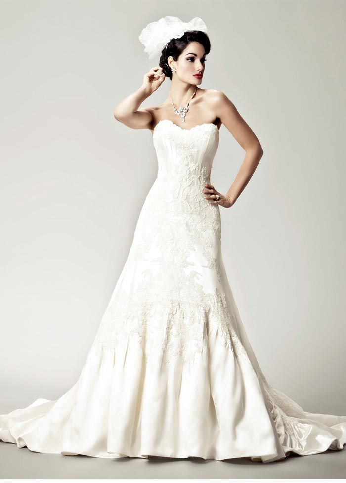 We love Matthew Christopher's mermaid and trumpet strapless silhouettes #NordstromWeddings