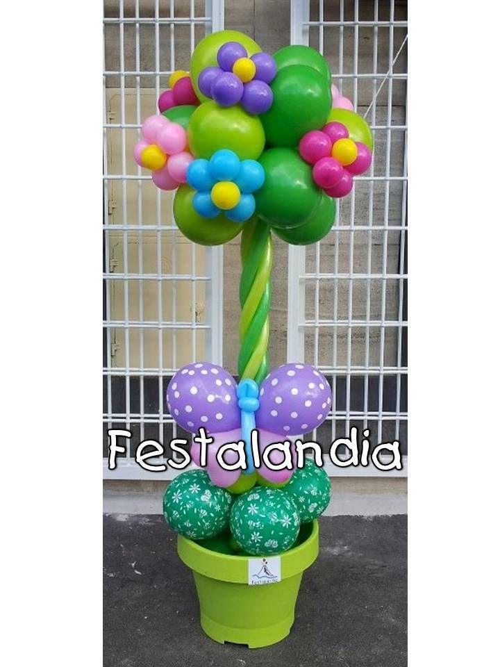 albero realizzato con palloncini con fiori e farfalle adatto per ingresso location e spazi all aperto