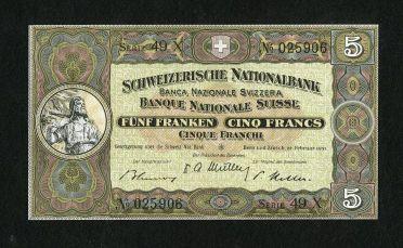 World Currency: , Switzerland 5 Franken Schweizerische Nationalbank 1951 Pick 11o....