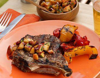 Pork loin chops peaches recipe