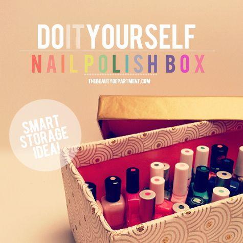 DIY Nail Polish Box via The Beauty Department | shoebox, wrapping paper