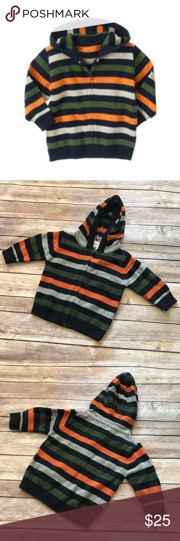 "Gymboree Football Champ Striped Hooded Sweater NEW Gymboree Football Champ Striped Hooded Sweater NEW 3-6 mo Navy Gray Orange Green  Cool stripes for comfy layering. Made from soft cotton sweater yarn, our stylish hooded cardigan features bold intarsia knit stripes and zip front design. Finished with ribbed trim on the hood, cuffs and hem.  100% cotton Machine washable Imported Collection Name: Football Champ  12"" long 11.5"" p to p Gymboree Shirts & Tops Sweaters"