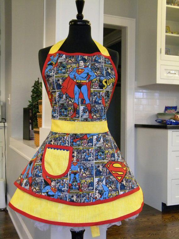 Superman Comic Strip Double Skirted by MyEmptyNestDesigns on Etsy, $36.50