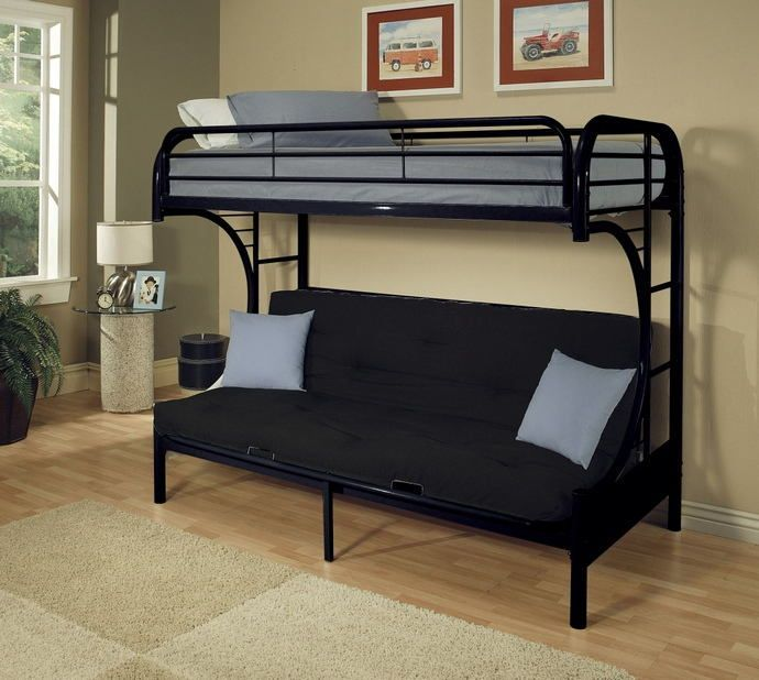 Eclipse Collection C Shaped Style Twin Over Full Futon Black Finish Tubular Metal Design Bunk Bed Measures 78 Futon Bunk Bed Bunk Beds With Stairs Bunk Beds