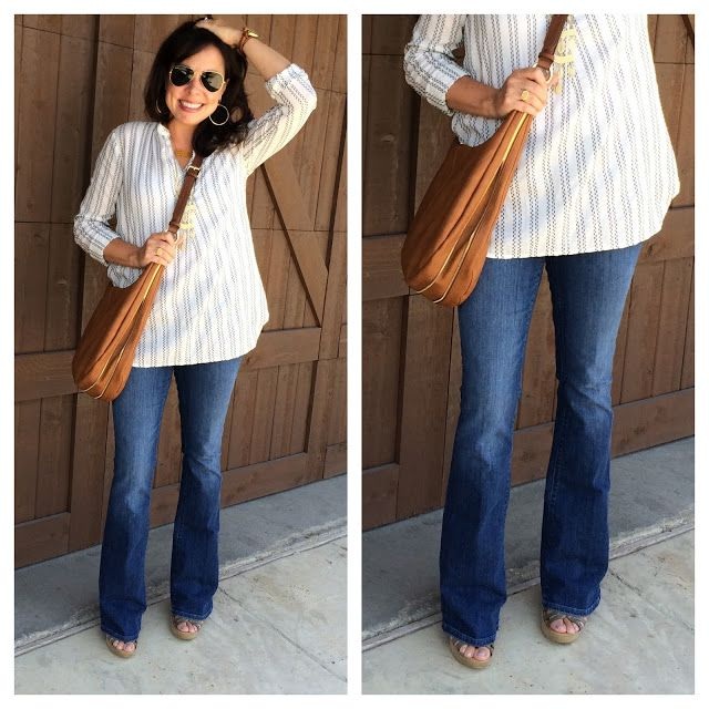FLARE JEANS ARE BACK!  And these from LOFT are a perfect for for me.  They are also a subtle flare, which I love!