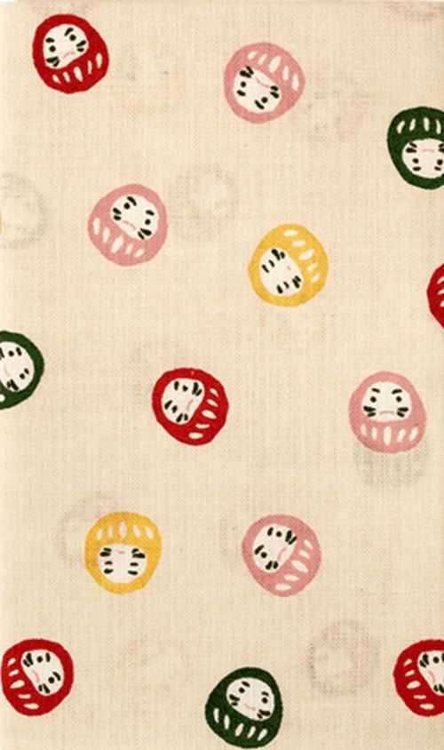 Japanese Tenugui Cotton Fabric, Kawaii Daruma, Tumbling Doll, Good-Luck Daruma Doll, Japanese Doll, Home Decor, Gift Idea, Headband, h536