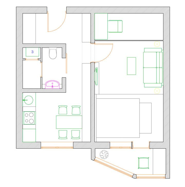 план однокомнатной квартиры п 44