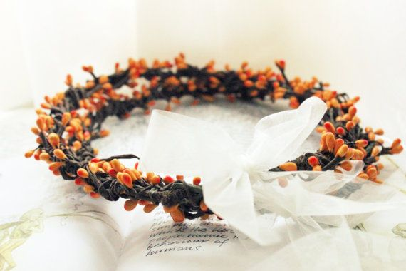Bohemian Wedding Crowns Stefana with orange berries by ManniaTitta, $80.00