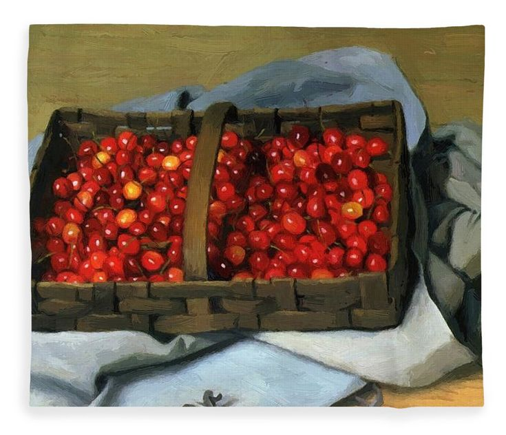 Basket Fleece Blanket featuring the painting Basket Of Cherries 1921 by Vallotton Felix